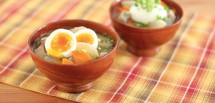 ゆで卵豚汁
