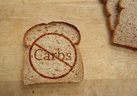 炭水化物禁止、食事の概念とパンのスライス