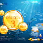 68055607 - fish oil ads template, omega-3 softgel with its package. deep sea background. 3d illustration.
