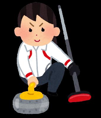 冬季オリンピックのイラスト「カーリング」